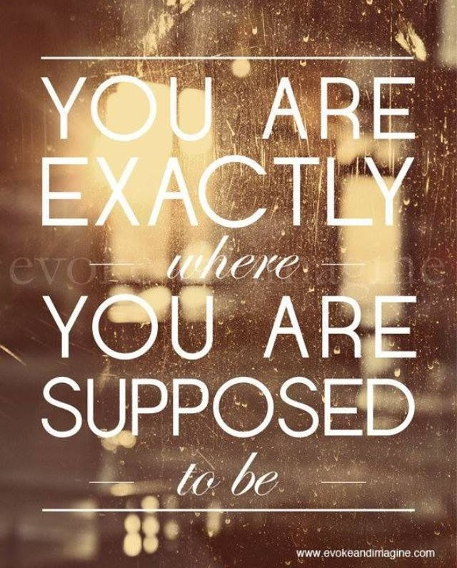 You are exactly where you are supposed to be