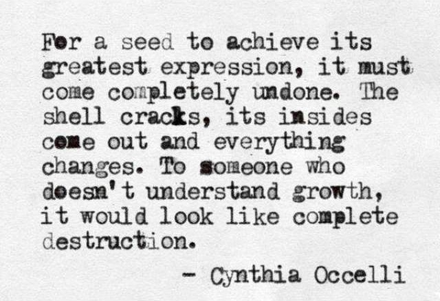 For a seed to achieve it's greatest expression, it must come completely undone