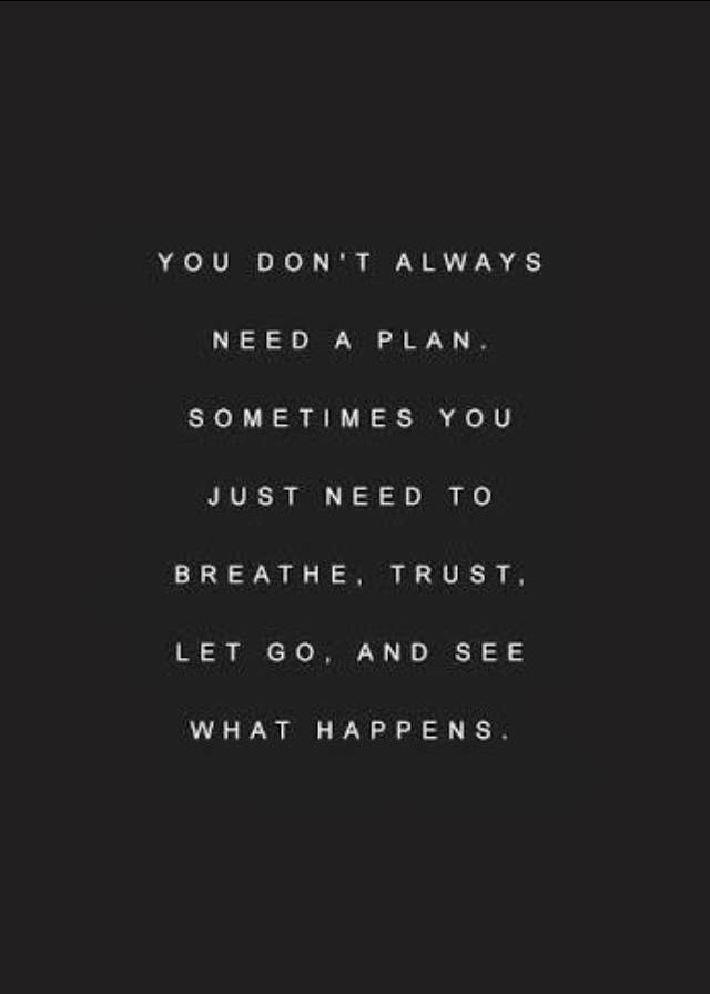 You don't always need a plan. Sometimes you just need to breathe trust let go and see what happens