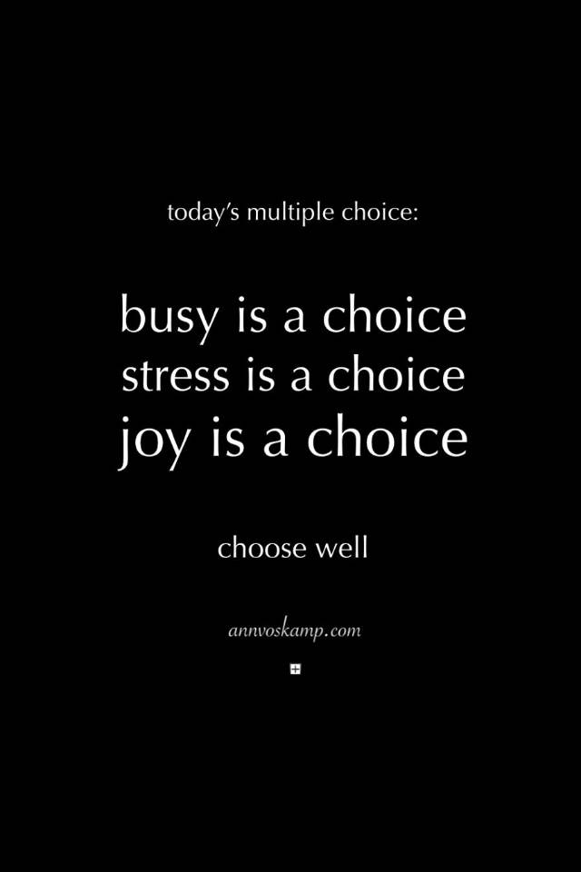 Today's multiple choice: busy is a choice, stress is a choice, joy is a choice. Choose well.