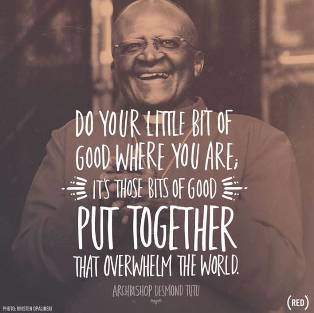 Do your little  bit of good where you are. Its those bits of good put together that overwhelm the world