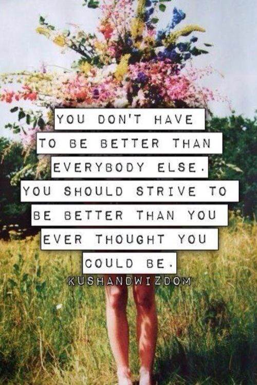 You don't have to be better than everybody else. You should strive to be better than you ever thought you could be