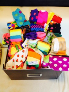 Box of socks to be donated