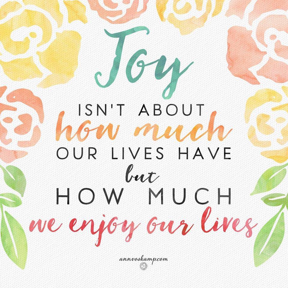 Joy isn't about how much our lives have but how much we enjoy our lives