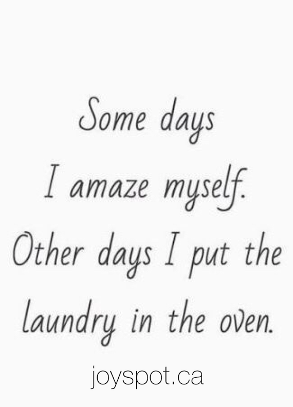Some days I amaze myself. Other days I put the laundry in the oven