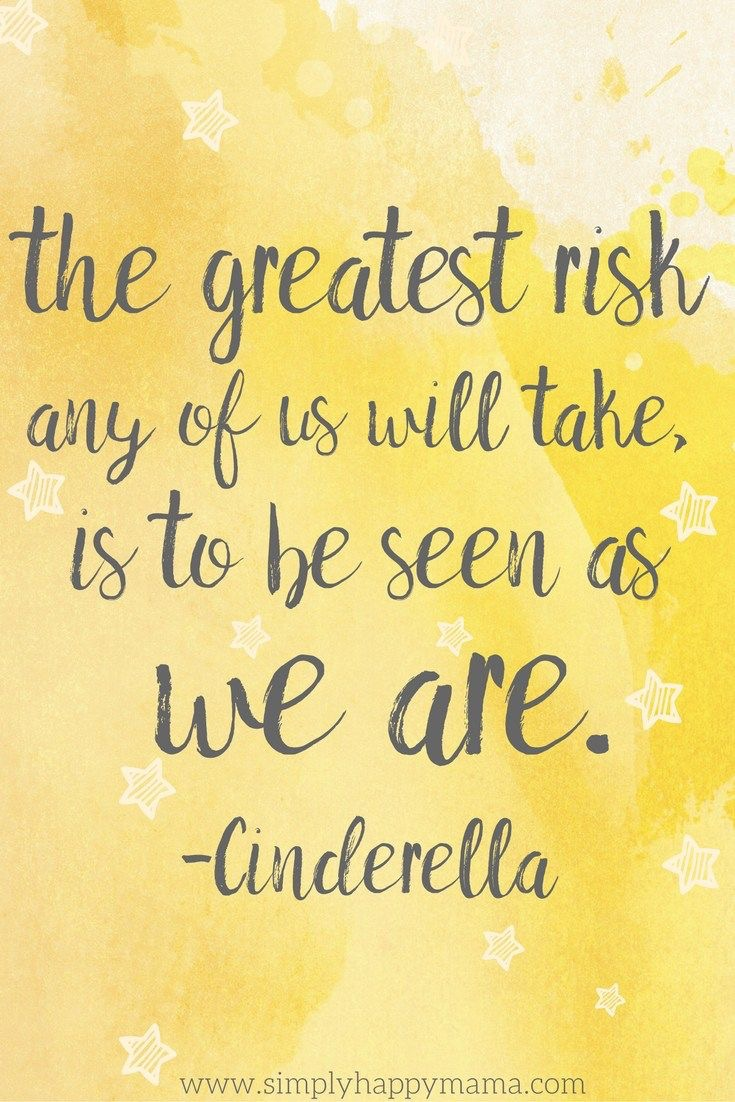 The greatest risk any of us will take is to be seen as we are