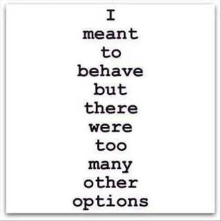I meant to behave but there were too many other options