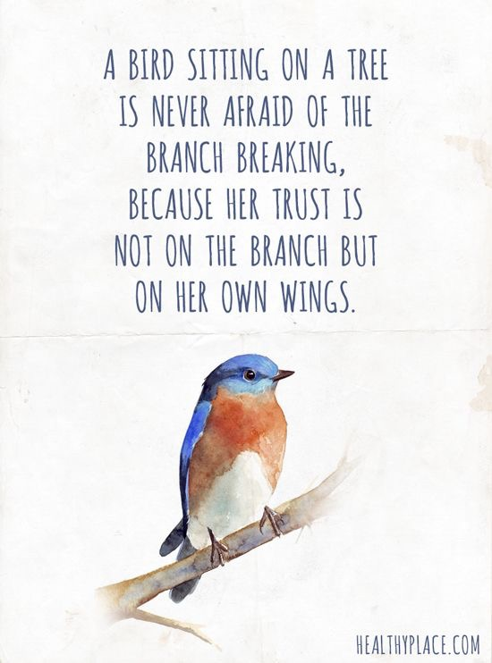 A bird sitting on a tree is never afraid of the branch breaking because her trust in not on the branch but on her own wings